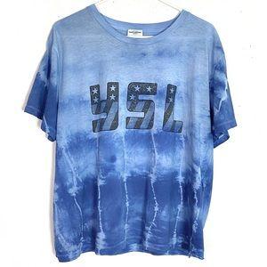 Saint Laurent YSL Flag Logo Tie Dye Tshirt XL Tee
